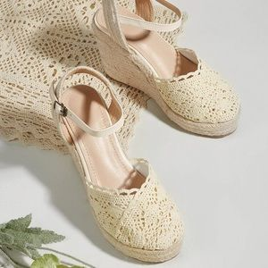 🆕 EMERY ROSE Lace Espadrille Wedge Heel Sandals